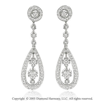 1.05  Carat Diamond Pave Antique Style Drop Earrings