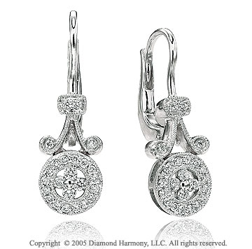 0.40  Carat Diamond Pave Deco Style Drop Earrings