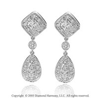 0.45  Carat Diamond Pave Deco Inspired Drop Earrings