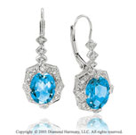 5.00  Carat Diamond Pave Blue Topaz Vintage Vi Caratorian Style Drop Earrings