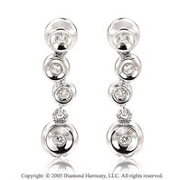 Diamond 14k White Gold Bezel Bubble Drop Earrings