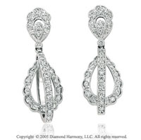 0.55  Carat Diamond Pave Double Tear Drop Earrings