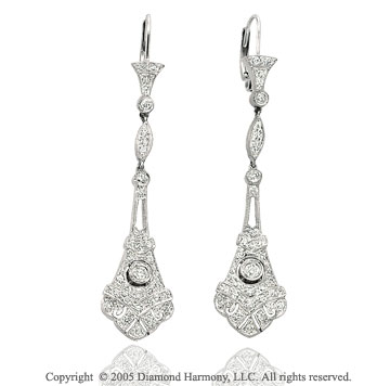 Carat Diamond Pave Deco Style Drop Earrings