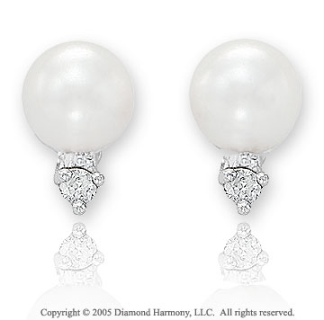 Diamond & Fresh Water Pearl 14k White Gold Buttons