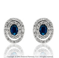 0.74  Carat Diamond Pave Blue Sapphire Stud Earrings