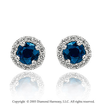 0.82  Carat Diamond Pave Blue Sapphire Classic Stud Earrings