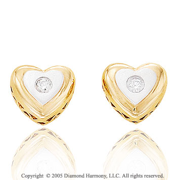 Diamond 14k Two Tone Gold Heart Stud Earrings