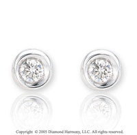 Carat Diamond Classic Bezel Button Earrings