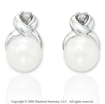 Diamond & Fresh Water Pearl 14k White Gold Studs