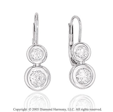 1/2  Carat Diamond Double Bezel Drop Earrings