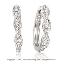 0.35  Carat Diamond Pave Three Stone Earrings