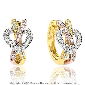 0.40  Carat Diamond Pave Three Tone Heart Knot Huggie Earrings