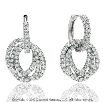 1.00  Carat Diamond Triple Hoop Drop Earrings