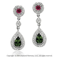 1.35  Carat Diamond Multi Colored Tear Drop Earrings