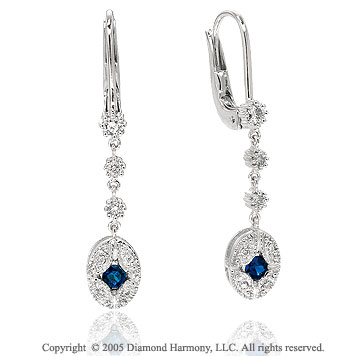 0.39  Carat Pave Diamond Blue Sapphire Drop Earrings