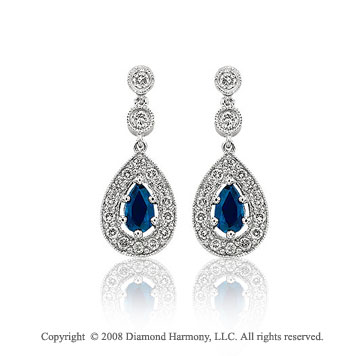 0.86  Carat Diamond Pave Blue Sapphire Tear Drop Earrings