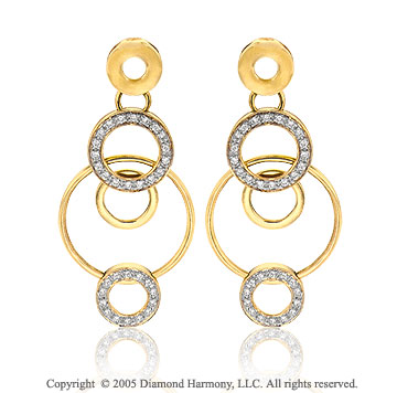 14k Yellow Goldold 1/2 Carat Diamond Multi Circle of Life Earrings