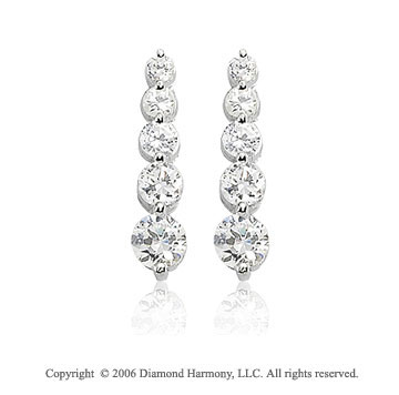 14k White Gold Drop 1.00  Carat Diamond Journey Earrings