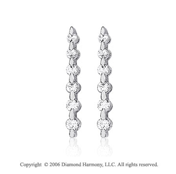 14k White Gold Drop One Carat Diamond Journey Earrings