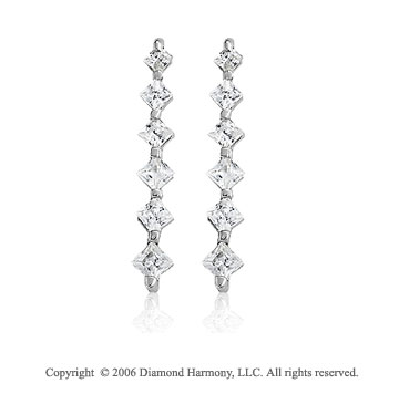 14k White Gold Drop Princess 1.00  Carat Diamond Journey Earrings