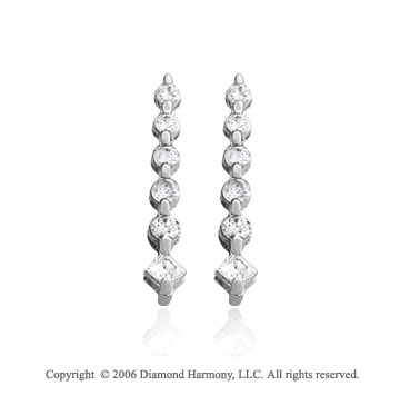 14k White Gold Round Princess 1.00  Carat Diamond Journey Earrings