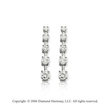 14k White Gold Long Stem 1.00  Carat Diamond Journey Earrings