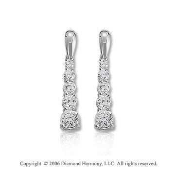 14k White Gold Bold Mount 1.00  Carat Diamond Journey Earrings