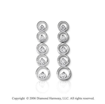 14k White Gold Ten Hoop Drop 1.00  Carat Diamond Journey Earrings