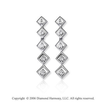 14k White Gold Double Frame 1.00  Carat Diamond Journey Earrings