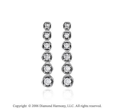 14k White Gold Classic Round 1.00  Carat Diamond Journey Earrings