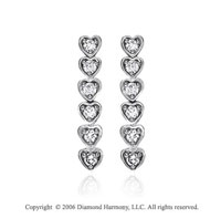 14k White Gold Heart 1.00  Carat Diamond Journey Earrings