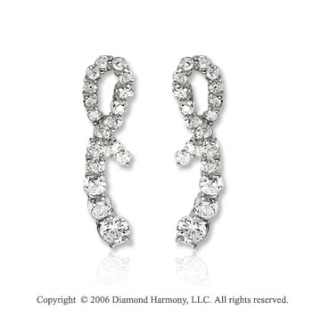 14k White Gold Wraparound Drop .75  Carat Diamond Journey Earrings
