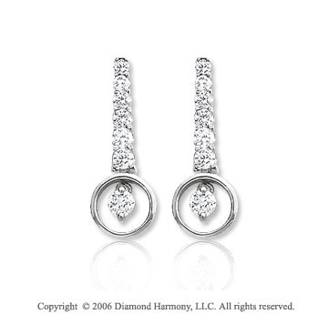 14k White Gold Circle Drop 1.00  Carat Diamond Journey Earrings