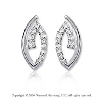14k White Gold Oval 1.00  Carat Diamond Journey Earrings