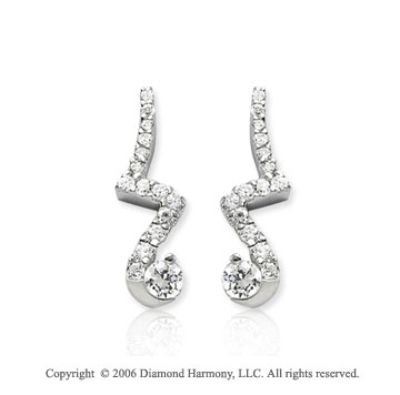14k White Gold Drop .50  Carat Diamond Journey Earrings