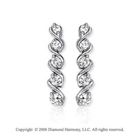 14k White Gold Layered 1.00  Carat Diamond Journey Earrings