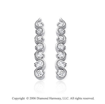 14k White Gold Vine 1.00  Carat Diamond Journey Earrings