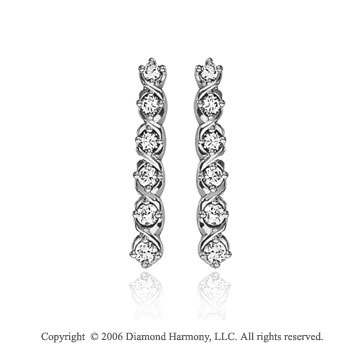 14k White Gold Double Vine 1.00  Carat Diamond Journey Earrings