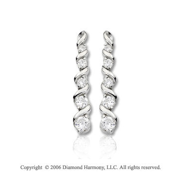 14k White Gold Twisting Vine 1.00  Carat Diamond Journey Earrings