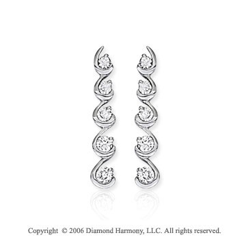14k White Gold Cascading Drop 1.00  Carat Diamond Journey Earrings