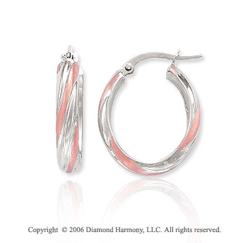 14k Two Tone Gold 1in, 6mm Candy Stripe Hoop Earrings