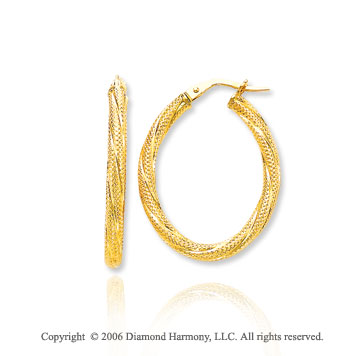 14k Yellow Gold 1 in, 3.25mm Woven Oval Hoop Earrings