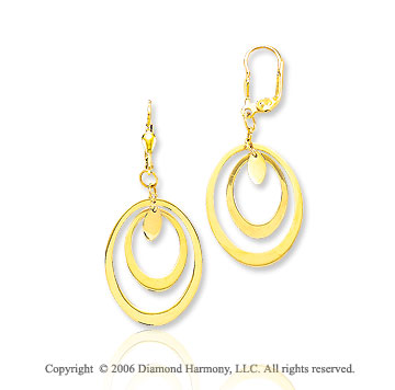 14k Yellow Gold 2 inch Dbl Oval Drop Earrings