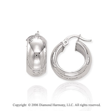 14k White Gold 5/8in, 7mm Petite Hoop Earrings