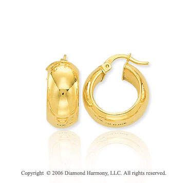 14k Yellow Gold 5/8in, 7mm Petite Hoop Earrings