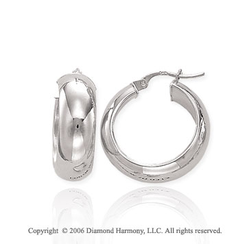 14k White Gold 7/8 in, 7mm Small Hoop Earrings