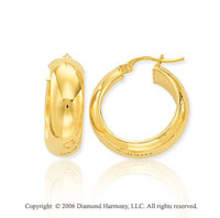 14k Yellow Gold 7/8in, 7mm Small Hoop Earrings