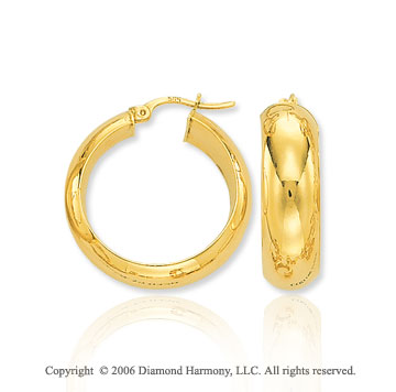 14k Yellow Gold 1 inch, 7mm Medium Hoop Earrings