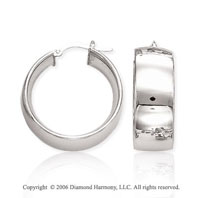 14k White Gold 1 1/8 in, 10mm Thick Hoop Earrings