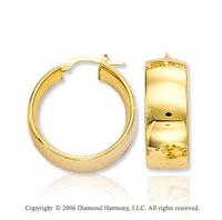 14k Yellow Gold 1 1/8 in, 10mm Thick Hoop Earrings